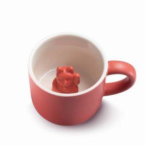 Animal mug Maneki Neko Red