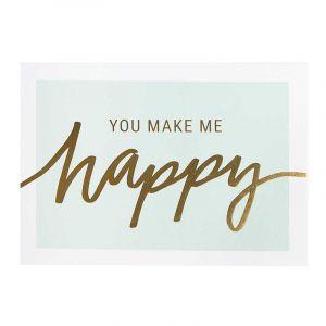 You make me happy laminated postcard