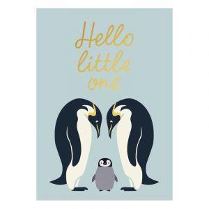 Hello Little One Gold Postcard