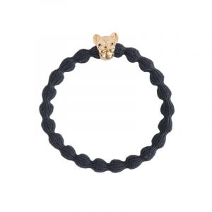 Bull Dog Hair Tie, Gold Black