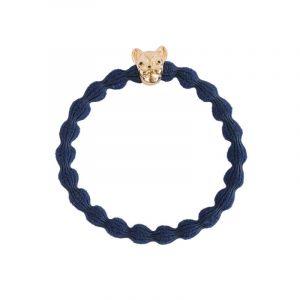 Bull Dog Hair Tie, Gold Blue