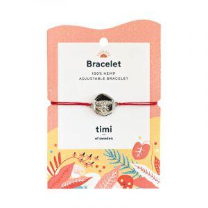 Bee Plate Hemp bracelet, Silver Red