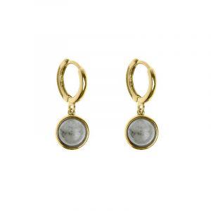 Labradorite Small Hoop Earrings Gold