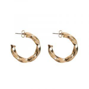 Chunky Twisted Hoop Earrings - Gold
