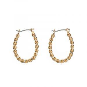 Twisted Droplet Hoop Earrings - Gold