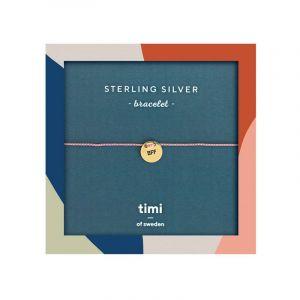 BFF Plate Sterling Silver Silk bracelet, Gold - Old Rose