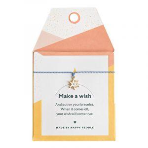 Wishing Star Silk bracelet, Gold - Blue