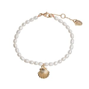 Mermaid Shell and Pearl Bracelet - Gold