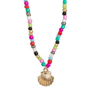 Mermaid Shell and Beads Necklace - Gold
