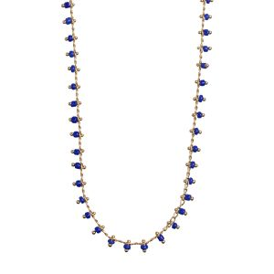 Blue Bead Necklace - Gold