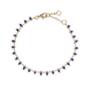 Blue Bead Bracelet - Gold