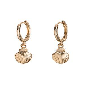 Mermaid Shell Hoop Earrings - Gold