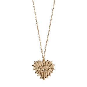 Evil Eye Heart  Necklace - Gold