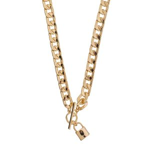 Chynky Curb Lock Chain Necklace - Gold