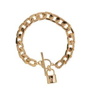 Chunky Curb Lock Bracelet - Gold