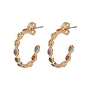Colorful Chrystals Hoop Earrings - Gold