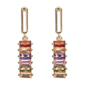 Dangling Colored Stones Earring - Gold