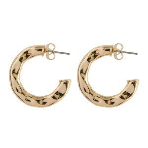 Flat Hammered Hoop Earring- Gold