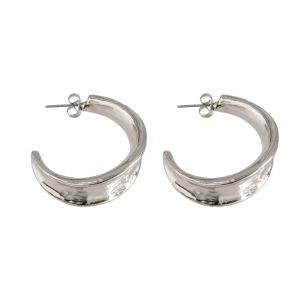 Large Hammered Hoop Earring - Silver