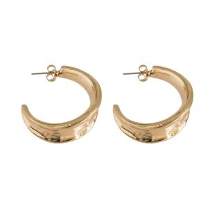 Large Hammered Hoop Earring - Gold
