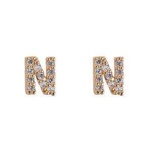 Petite Chrystal Letter Stud Earring - N