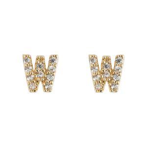 Petite Chrystal Letter Stud Earring - W