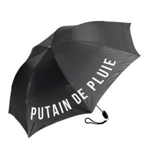 Parapluie pliable noir 'Putain de Pluie'