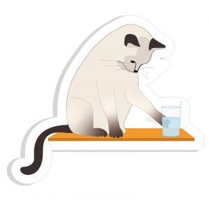 Autocollant Chat et le verre