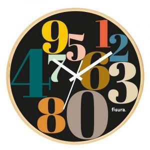 Horloge chiffres multicouleurs, noir