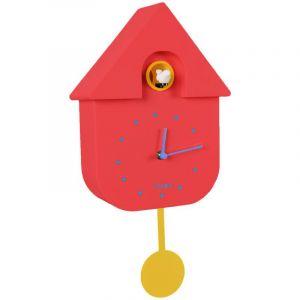 Horloge Maison Coucou, rouge et jaune