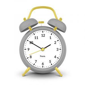 Alarm Clock Retro Grey & Yellow