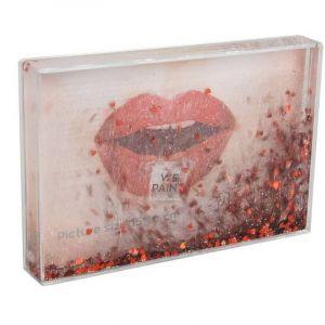 Cadre photo liquide paillettes coeurs rouges