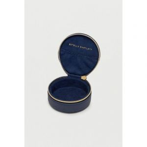 Round Jewellery Box - Navy - Saffiano