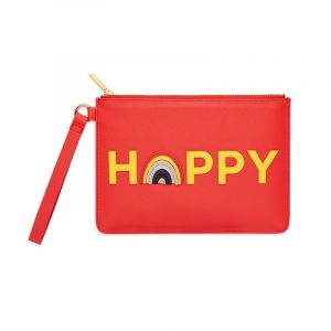 Medium Pouch with Handle - Coral with Yellow and Multicolour Applique - Happy - Saffiano