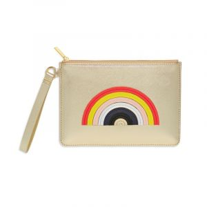 Medium Pouch with Handle - Gold with Multicolour Applique - Rainbow - Saffiano