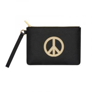 Medium Pouch with Handle - Black with Gold Applique - Peace - Saffiano