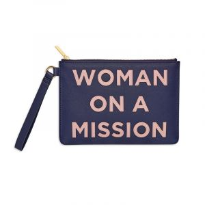 Medium Pouch - Navy With Blush Message