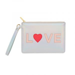 Medium Pouch with Handle - Iridescent with Blush and Coral Applique - Love - Saffiano