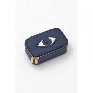 Mini Jewellery Box - Navy with Navy Applique - Eye - Saffiano