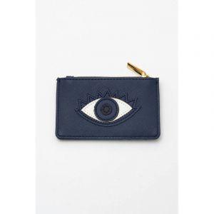 Card Purse - Navy with Navy Applique - Eye - Saffiano