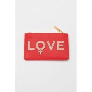 Card Purse - Coral with Blush Applique - Love - Saffiano