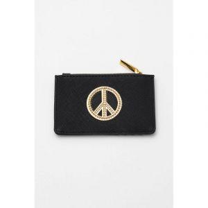 Card Purse - Black with Gold Applique - Peace - Saffiano