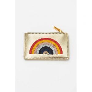 Card Purse - Gold with Multicolour Applique - Rainbow - Saffiano