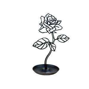 Porte-bijoux en forme d'une rose, noire