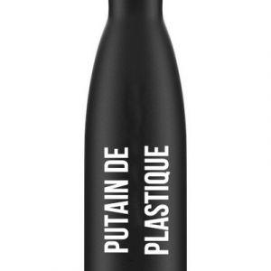 Bouteille Thermos noir Putain de Plastique'