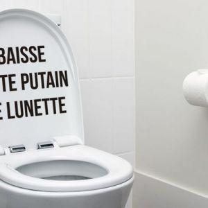 Sticker pour Abattant de WC 'Baisse cette putain de lunette'