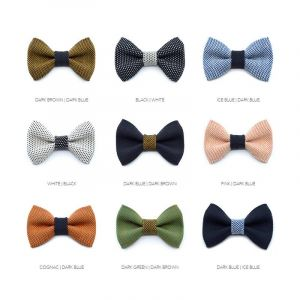 Yumi collection - classic colour set - 18 bow ties + 12 straps + 12 pocket squares + 10 sets cufflinks