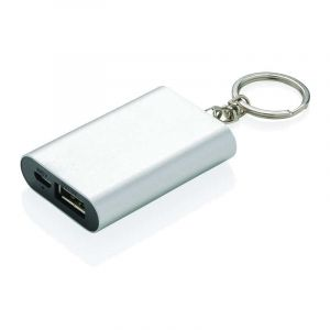 Porte-clés powerbank 1000mAh, argent