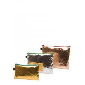 Lot 3 Zip Pockets Metallic Gold, Silver, Rose Gold – Coloured Zips
