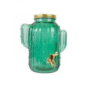 Green Glass Dispenser - Gold Metal